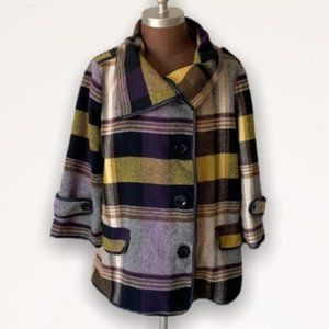 For Cynthia Wool Plaid Flannel Jacket Large New